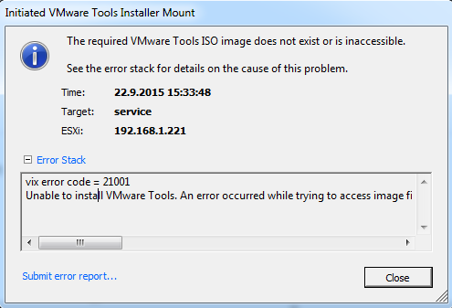 Unable To Install Vmware Tools  An Error Occurred While