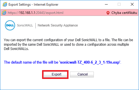 sonicwall export firmware 6.5.0