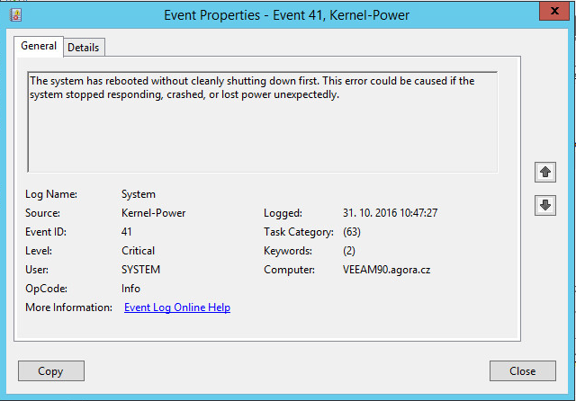 kernel power event id 109