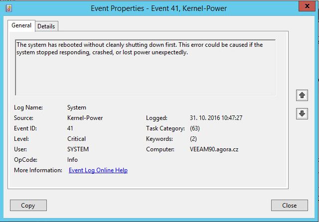 Windows Server 2012R2 - virtual machines fail with Kernel-Power ID 41
