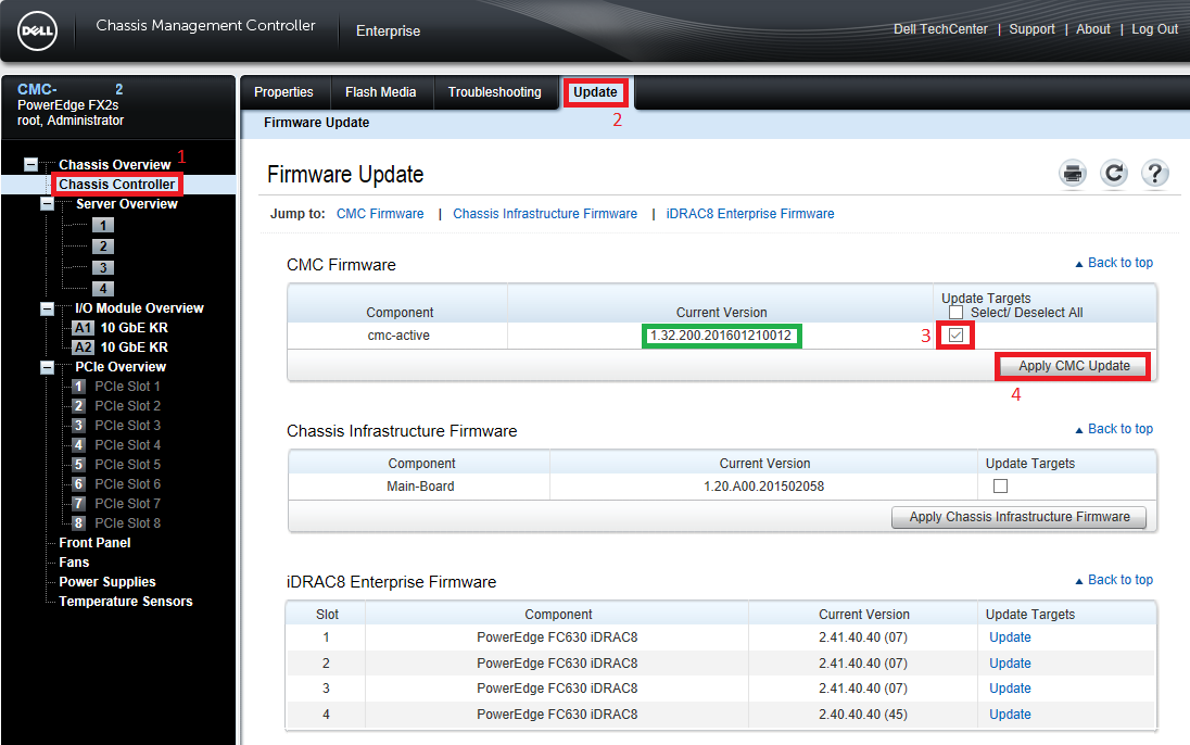 How to update CMC firmware on DELL PowerEdge FX2s