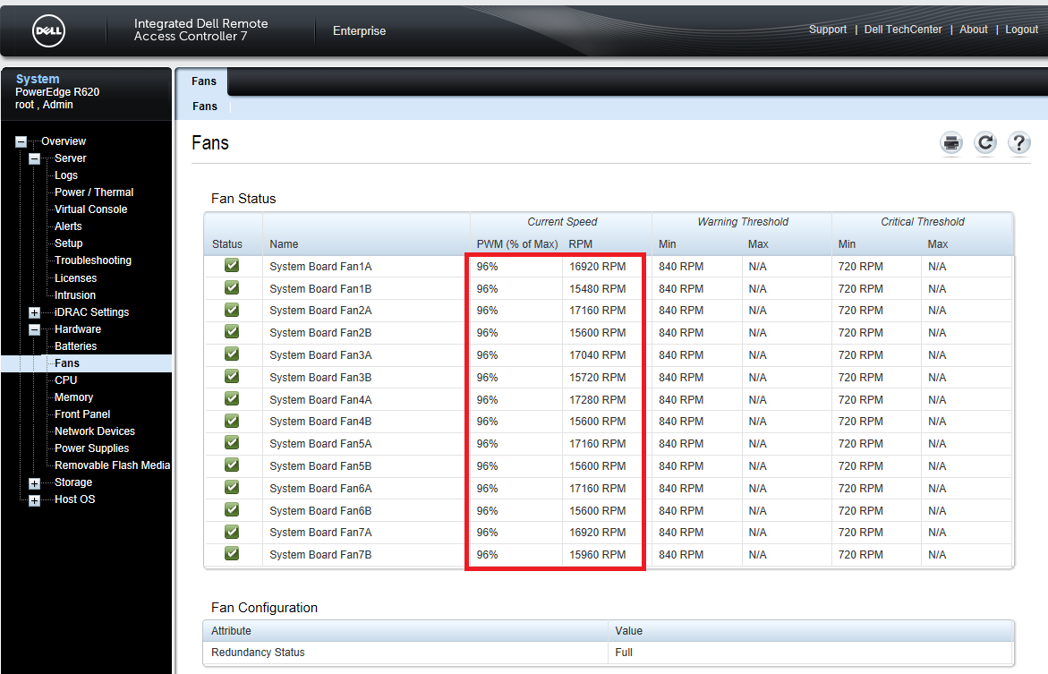 Adjusting Fan Speed Offset on Dell PowerEdge R620