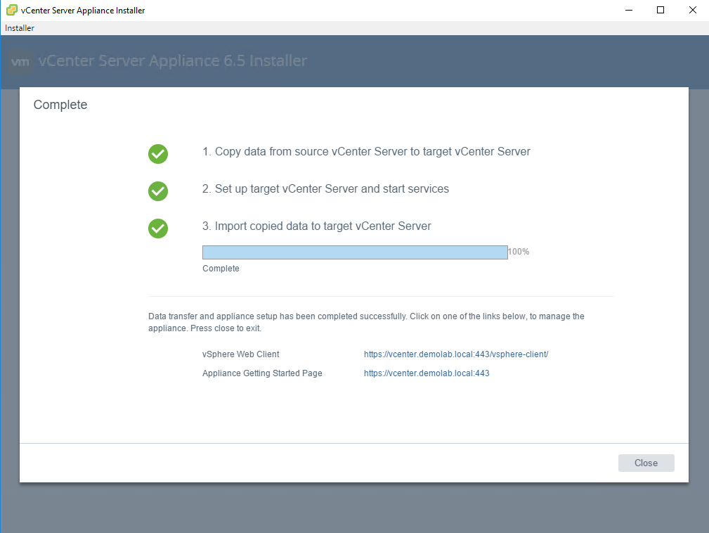How to upgrade VCSA 6 0 update 3 to VCSA 6 5 - tomaskalabis com