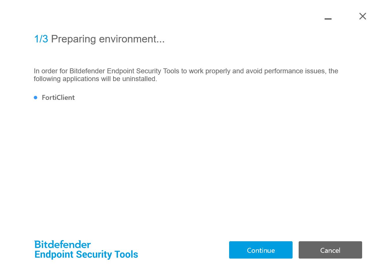 Bitdefender Gravityzone installer removes Forticlient VPN