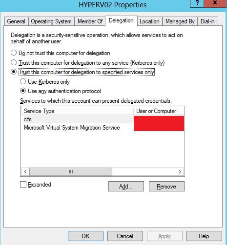 Hyper-V VM move fails with error 0x8009030D (credentials not